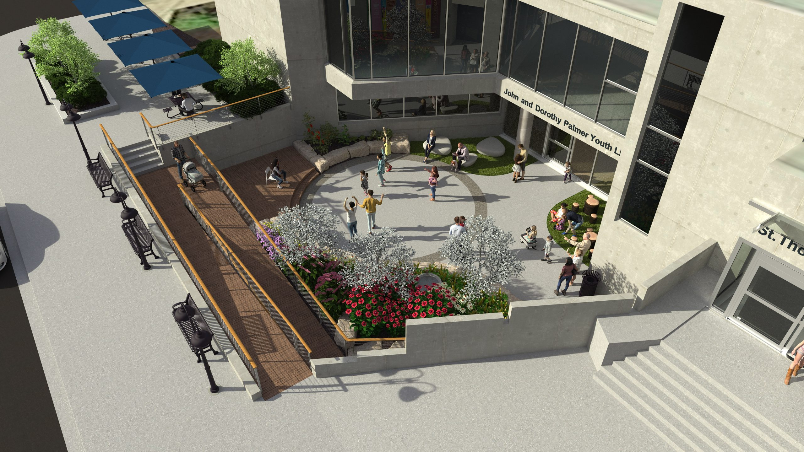 Computer rendering of circular courtyard with people listening to a musician on a stage