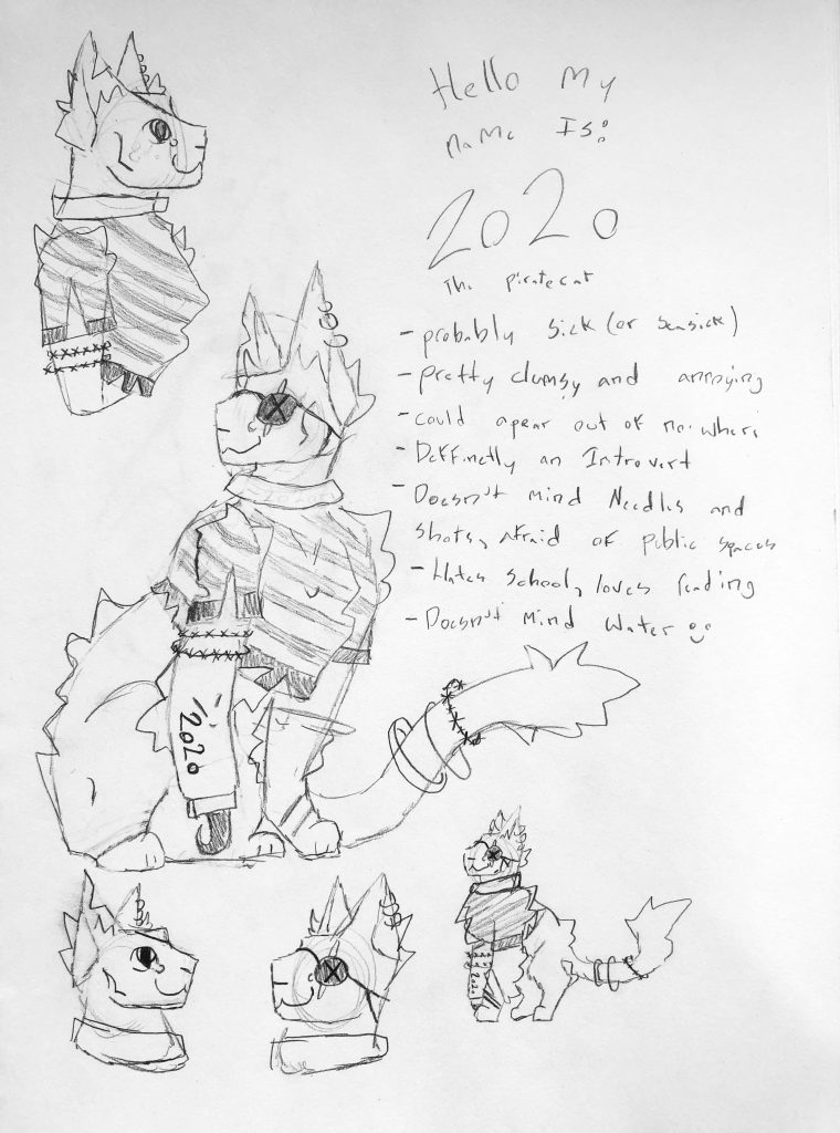 A cat-like cartoon creature with an eyepatch and striped shirt with 2020 written on it's arm