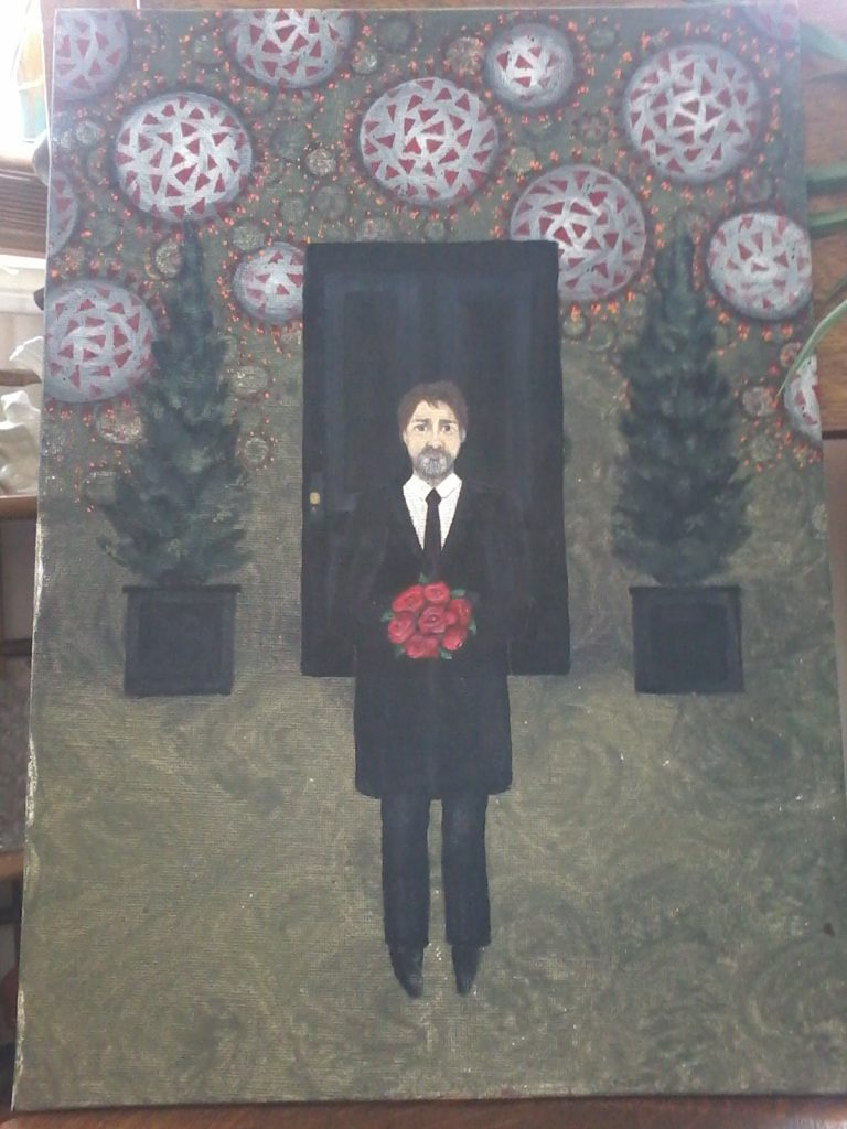 Painting of Justin Trudeau standing in front of a black door holding red flowers. Two shrubs on either side of the door, with a background of red and grey covid cells