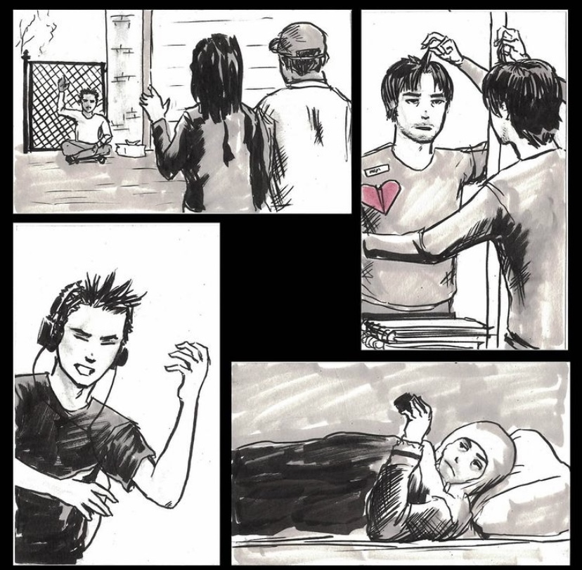 black and white graphic comic strip style artwork of man waving to friends distantly, next panel: holding up a piece of hair in the mirror, next panel: making air guitar movement while listening to headphones. next panel: lying in bed watching something on cell phone