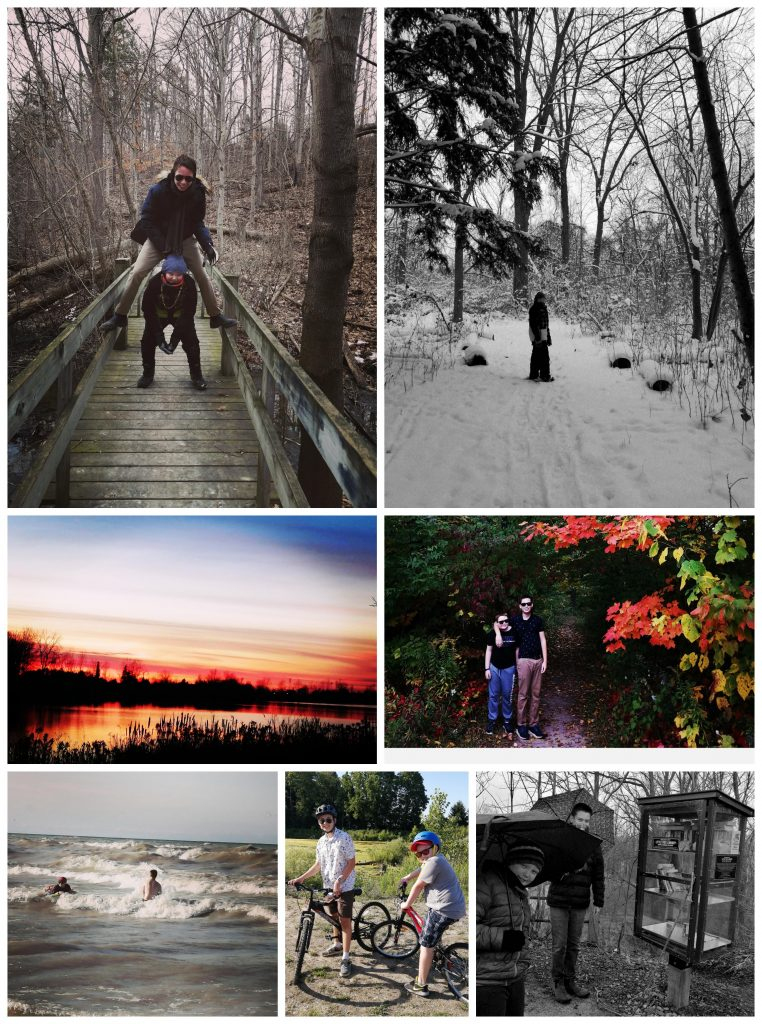 Collage of photographs. Two boys play leapfrog over each other on a boardwalk. Boy standing in the snow looking back at the camera. Serene pond with vibrant sunset. Two boys stand arm in arm on trail surrounded by fall colours. Two boys play in crashing waves in a lake. Two boys on bikes on a summer day. Two boys post with umbrellas next to a glass cabinet filled with books on a trail