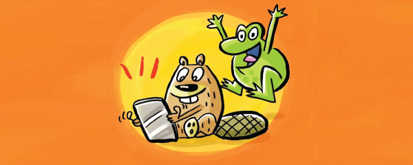 cartoon frog and beaver on orange background. beaver is looking at a cell phone